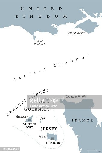 Channel Islands Guernsey And Jersey Gray Political Map Vector Art