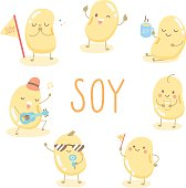 character soy seed have many activity about sing, drinking soy milk, enjoy life
