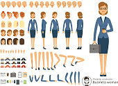Character constructor of business woman. Cartoon vector illustration of different body parts and thematic elements. Person woman constructor, emotion and parts of body