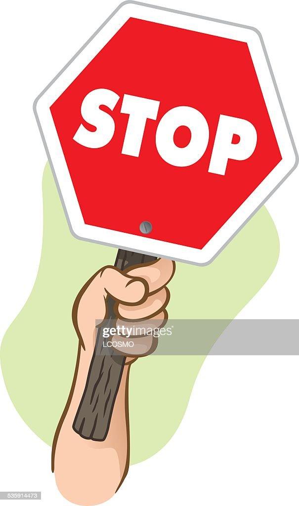 Carácter mão segurando um poste de sinalização pare : Arte vetorial