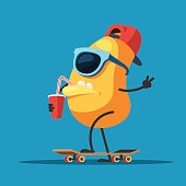 Character monster on a skateboard with a paper Cup in hand, drinking through a straw. Vector illustration in cartoon style