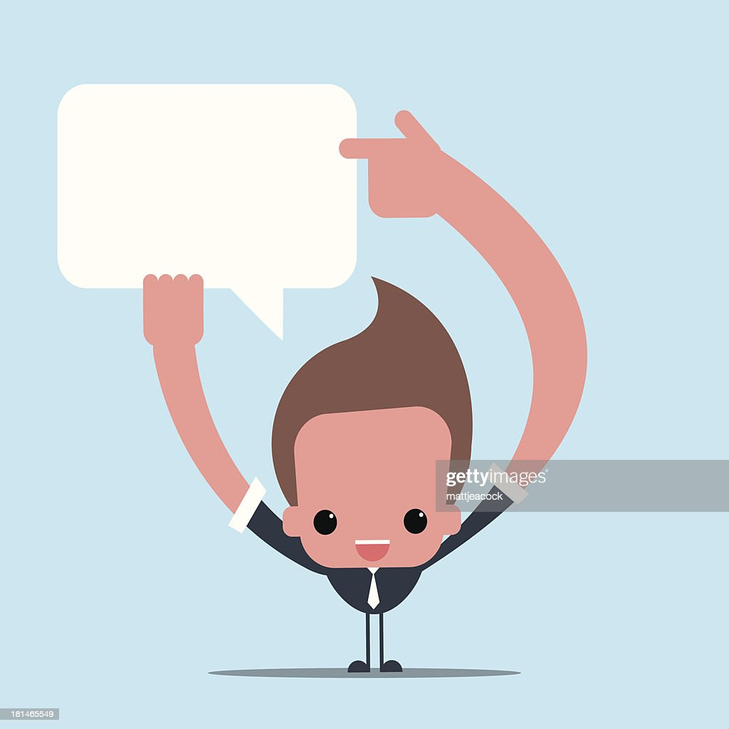 Character pointing to a speech bubble : Vector Art