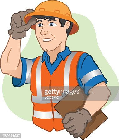 Character workers with safety equipment at work : Vector Art