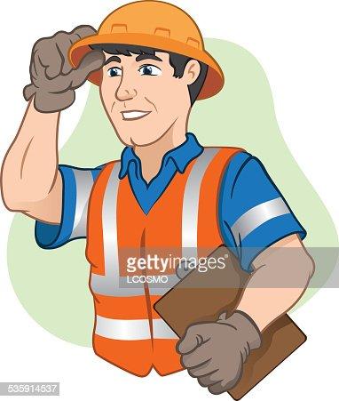 Carácter de trabalhadores com o equipamento de segurança no trabalho : Arte vetorial