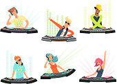 DJ characters. Vector illustrations of music cartoon mascots. Dj with headphone on club party