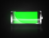 Charged battery. Full charge battery. Battery charging status indicator. Glass realistic power green battery illustration on black background. Full charge total discharge. Charge status. Vector.