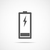 Charging battery icon, isolated on light background. Vector Illustration. Battery icon in flat design.