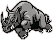 vector of Charging rhino