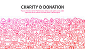 Charity and Donation Concept. Vector Illustration of Line Website Design. Banner Template.