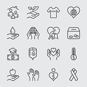 Charity and Donation line icon 2