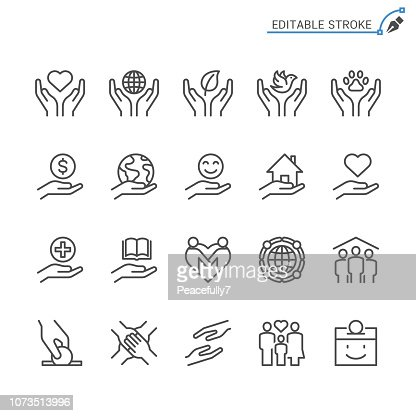 Charity and donation line icons. Editable stroke. Pixel perfect. : stock vector
