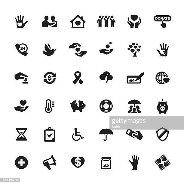 Action caritative et assistance vecteur Symboles et icônes