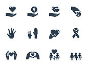 Charity, donation and volunteering icon set in glyph style