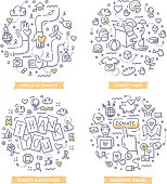 Doodle vector concepts of charity and gratitude, giving help and money, making donations. Charity foundation concepts