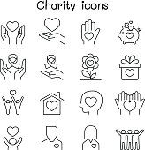 Charity & Donation icon set in thin line style