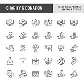 30 thin line icons associated with charity & donation. Symbols such as giving money, donating blood and other aid or relief related objects are included in this set. 48x48 pixel perfect vector icon &