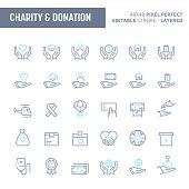 Charity & donation - simple outline icon set. Editable strokes and Layered (each icon is on its own layer with proper name) to enhance your design workflow.