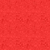Charity Red Line Seamless Pattern. Vector Illustration of Outline Tileable Background.