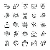 Charity, sponsorship,donation and donor icon set.