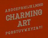 Charming Art typeface. Vintage font. Isolated english alphabet.