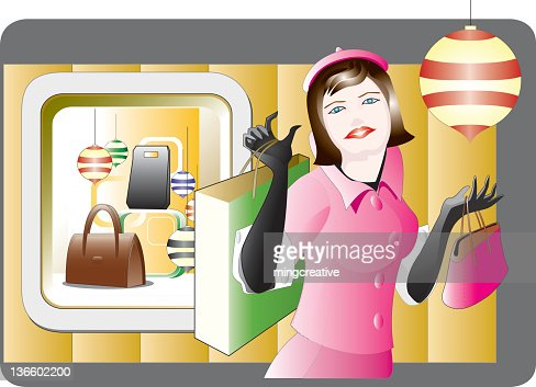 Charming lady shopping happily : Vector Art
