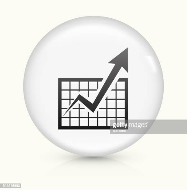 Chart and Progress Arrow icon on white round vector button