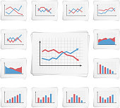 Papers with different graphs and charts, vector eps10 illustration