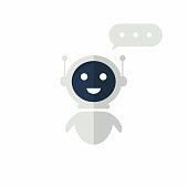 Chat bot icon with speech bubble. Virtual assistant for website. Chat bot concept for customer sevice. Vector