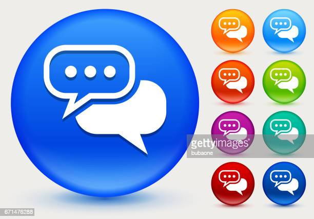 Chat bubble Icon on Shiny Color Circle Buttons