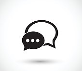 Chat icon with dialog clouds  - simple vector illustrations isolated on white background