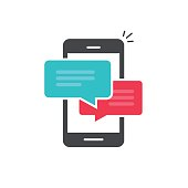Chat in mobile phone icon vector isolated on white background, flat style smartphone dialog bubble speeches symbol, cellphone messages concept, colorful mobile sms or chatting icon