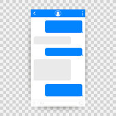 Chat Interface Application with Dialogue window. Clean Mobile UI Design Concept. Sms Messenger. Vector stock illustration.
