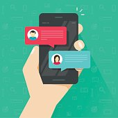 Chat messages notification on smartphone vector illustration, flat style sms bubbles on mobile phone screen, man person chatting on cellphone with woman