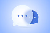 Chat vector illustration with speech bubble symbols, with transparent effect. Scalable for any sizes.