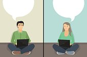 Chatting, man and woman chatting. Vector illustration of a flat