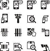 Check code , Barcode, QR code Reader Icons set Vector illustration