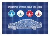 Check cooling fluid indicators vector illustration. Car coolant signs blue print graphic design. Coolant car engine creative concept.