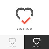 Check heart - red tick mark and love symbol. Marriage agency, health and medicine vector icon.