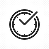 Check mark on clock line icon. Check time symbol, Check mark clock icon. Linear style sign for web and mobile