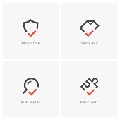Check mark set. Shield, document or file, magnifying glass and puzzle piece with tick or checkmark symbol - protection and defense, agreement, search and jigsaw part icons.