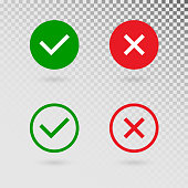 Check marks set on transparent background. Green tick and red cross in circle shapes. YES or NO accept and decline symbol. Vector icons for internet buttons or web page. Vector illustration.