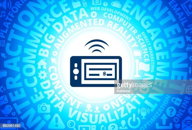 Check Scanner Phone Icon on Internet Modern Technology Words Background