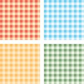 Vector Illustration Of Checked Tablecloths For Background. Four Color Variations.