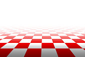 Checkered background in perspective. Squares - red and white. Vector illustration.