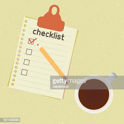 checklist and cup of coffee : Vector Art