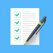 Checklist and pen. Document with green ticks checkmarks and pen. Checklist icon, application form, complete tasks, to-do list, survey concepts. Modern flat desgin graphic elements. Vector icon