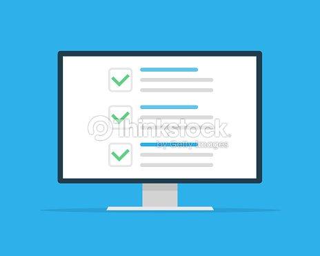 0eea7da04 Ventana Lista de comprobación. Marca de verificación. Marca blanca en la  pantalla del monitor