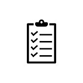 Checklist icon in flat style. To do list symbol isolated on white background. Simple abstract check list icon in black. Modern flat vector illustration for graphic design, Web, UI, mobile upp