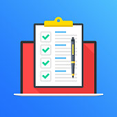 Checklist on laptop screen. Laptop and clipboard with green check marks, checkmarks and pen. Online survey, quiz, poll, tasks, questionnaire concepts. Modern long shadow flat design graphic elements.