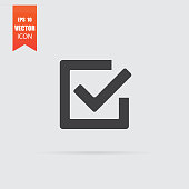 Checkmark icon in flat style isolated on grey background. For your design, logo. Vector illustration.